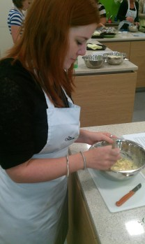 Me, at the class, making prawn fritters.